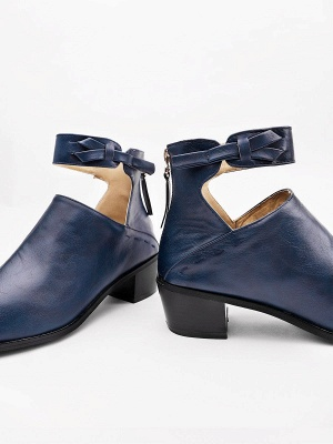 Women Chunky Heel Daily Zipper Round Toe Boots_23