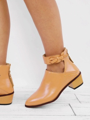 Women Chunky Heel Daily Zipper Round Toe Boots_5