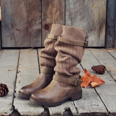 Comfy Cabin Sweater Boots Paneled Adjustable Buckle Boots_1