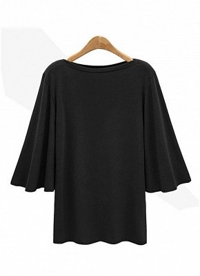 Women Batwing Sleeve Plus Size O Neck 3/4 Sleeve T-Shirt_3
