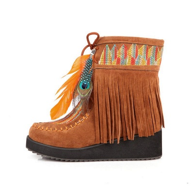 Tassel Wedge Heel Daily Round Toe Casual Boots_11