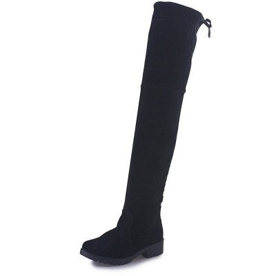 Black Suede Daily Chunky Heel Round Toe Boots_4