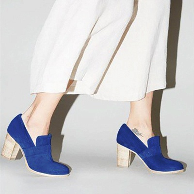 Casual Suede Chunky Heel Slip-On Boots_14