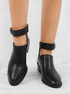 Women Chunky Heel Daily Zipper Round Toe Boots_9