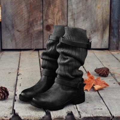 Comfy Cabin Sweater Boots Paneled Adjustable Buckle Boots_2