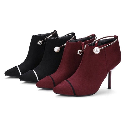 Zipper Date Stiletto Heel Elegant Pointed Toe Boots_4