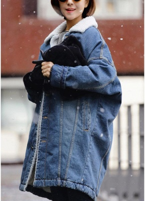 Women Winter Loose Denim Coat Fleece Thicken Jacket Outerwear_4
