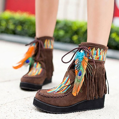 Tassel Wedge Heel Daily Round Toe Casual Boots_6