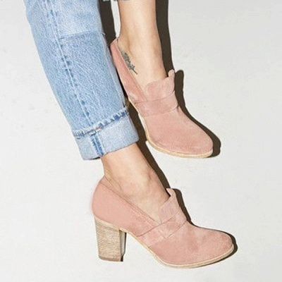 Casual Suede Chunky Heel Slip-On Boots_16
