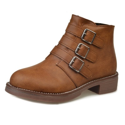 Zipper Daily Chunky Heel Round Toe Buckle Boots_9