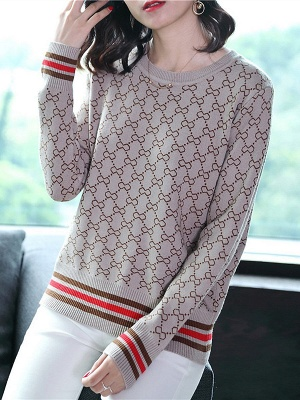 Casual Long Sleeve Geometric Printed Shift Sweater_2