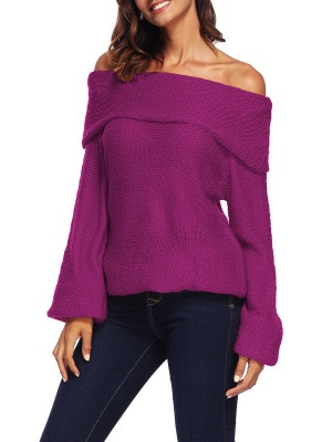 Casual Off Shoulder Solid Knitted Balloon Sleeve Sweater_2