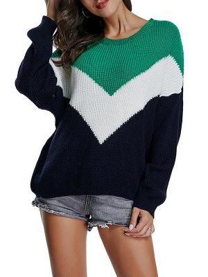 Green Crew Neck Casual Sweater_1