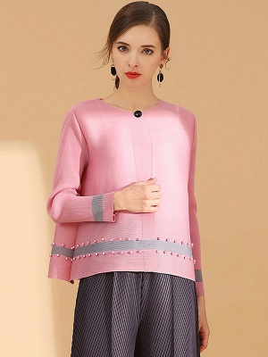 Pink Buttoned Color-block Pleated Beaded Coat_7