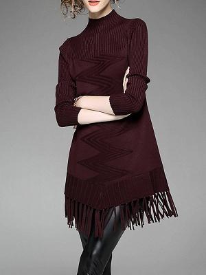 Burgundy Geometric Sheath Casual Sweater_6