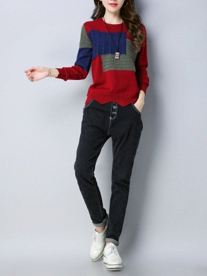 Long Sleeve Cable Casual Knitted Sweater_8