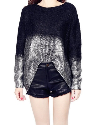 Shimmer Crew Neck Casual Long Sleeve Solid Sweater_8