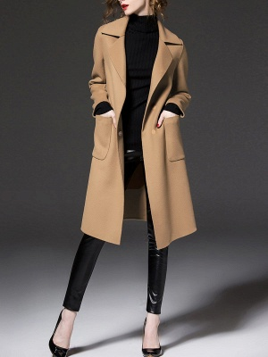 Long Sleeve Casual Lapel Buttoned Coat_2