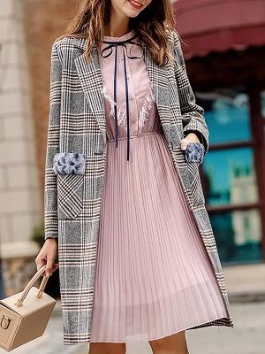 Gray Checkered/Plaid Long Sleeve Pockets Coat_7