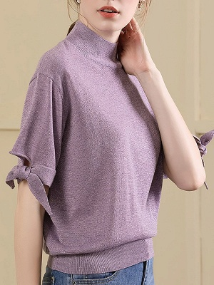 Short Sleeve Casual Shift Sweater_1