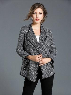 Gray Work Pockets Shift Shawl Collar Long Sleeve Coat_1