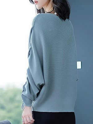 Long Sleeve Casual Ribbed Sweater_2