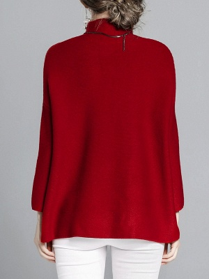 Burgundy Casual Stand Collar Solid Sweater_3