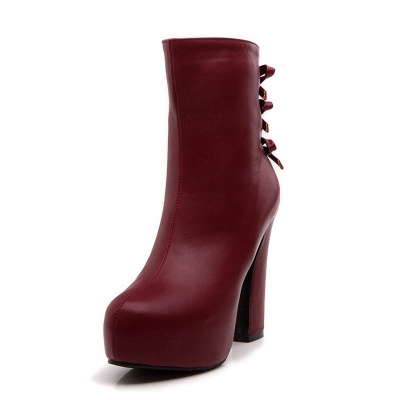 Daily Chunky Heel Zipper Tie Round Toe Elegant Boots_1