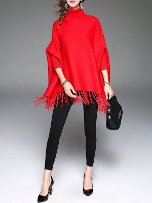 Red Plain Fringed Batwing Knitted Casual Turtleneck Sweaters_6