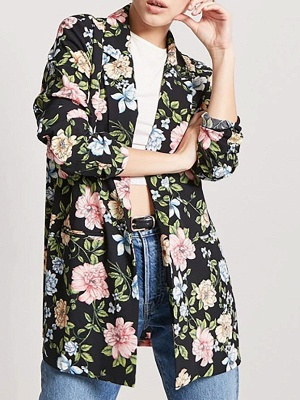 Black Cotton Casual Shift 3/4 Sleeve Floral Coat_1