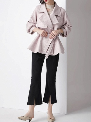 Light Pink Lapel Work Balloon Sleeve Paneled Coat_5