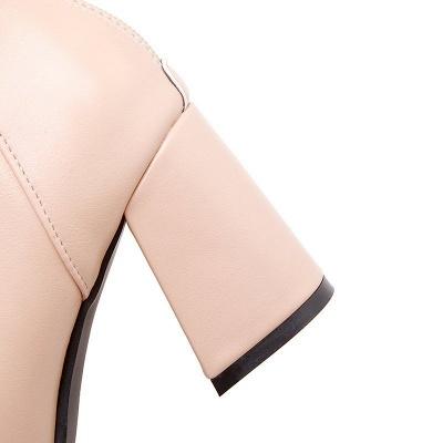Chunky Heel PU Daily Tie Round Toe Boots_10