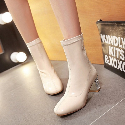 Chunky Heel Zipper Elegant Square Toe Boots_6