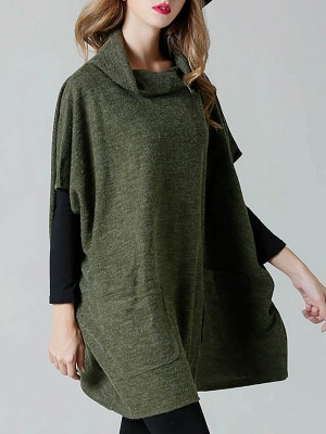 Batwing Cotton Pockets Casual Shift Sweater_3