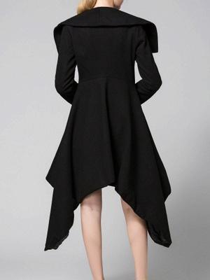 Black Long Sleeve Wool blend Work Asymmetrical Coat_3
