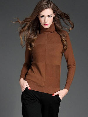 Paneled Solid Long Sleeve Casual Sweater_3