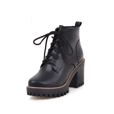 PU Lace-up Daily Round Toe Chunky Heel Boot_10