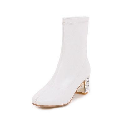 Chunky Heel Zipper Elegant Square Toe Boots_1