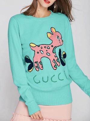 Green Crew Neck Long Sleeve Animal Sweater_6