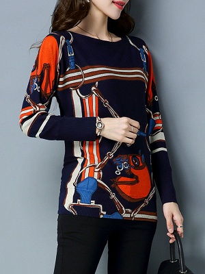 Long Sleeve Printed Shift Casual Sweater_5