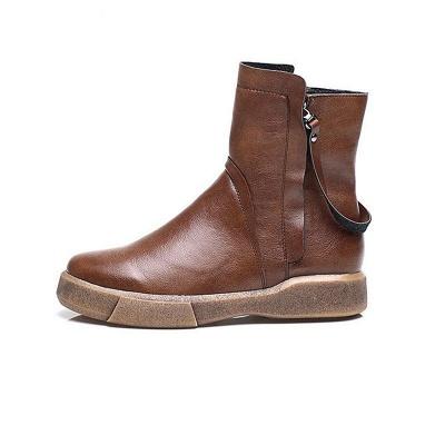 Zipper Daily Round Toe Flat Heel Boots_9