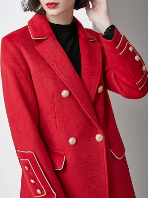 Red Buttoned Solid Work Pockets Lapel Coat_7