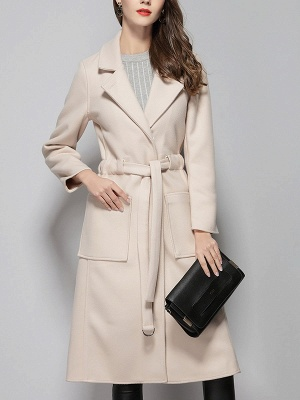 Apricot Work Wool Shift Pockets Lapel Buttoned Coat_1