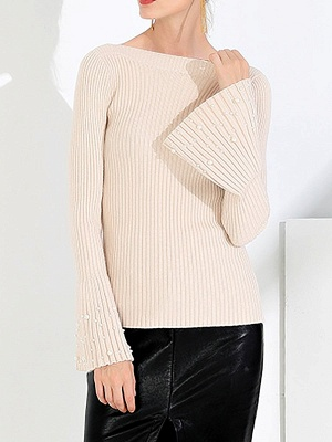 Frill Sleeve Casual Bateau/boat neck Sheath Sweater_1
