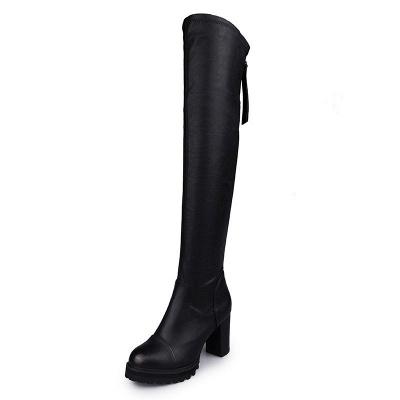 Black Fall Chunky Heel Zipper PU Boots_5