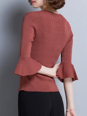 Shift Casual Solid Frill Sleeve Knitted Sweater_5