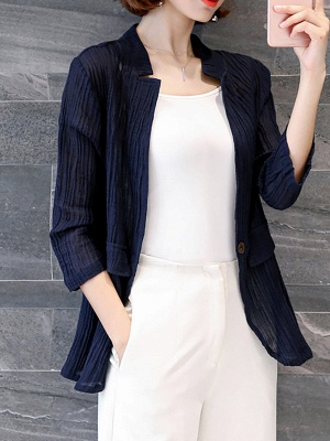 Navy Blue Pleated Casual Pockets 3/4 Sleeve Solid Coat_4