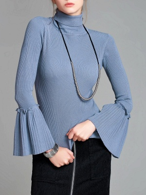 Turtle Neck Casual Bell Sleeve Pleated Sweater_1