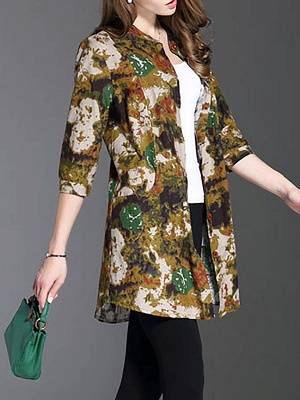 Long Sleeve Casual Stand Collar Shift Floral Coat_5