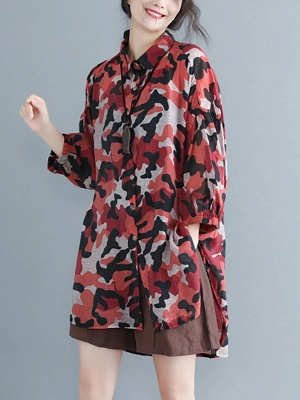 Camouflage Casual Long Sleeve Abstract Shift Printed Coat_6